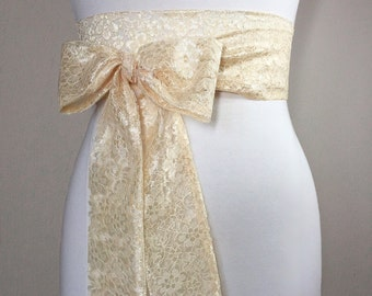 Pale Gold Lace Sash, Gold Wedding Dress Sash, Extra Long Lace Sash, Lace Gold Sash, Light Gold Wedding Sash, Gold Lace Obi Sash, Satin Swank