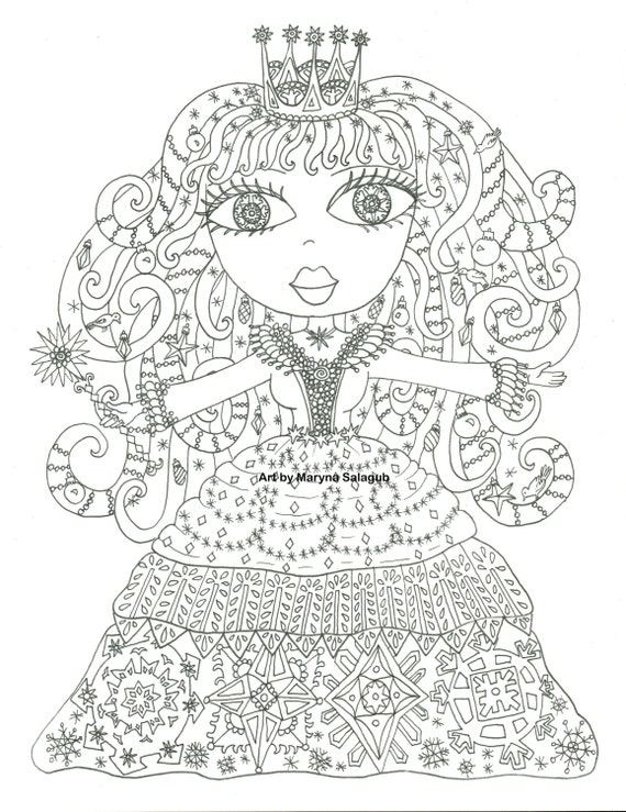 Winter princess coloring page digital stamp by ...