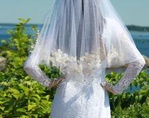 Champagne Veil, Lace Champagne Veil, puffy veils, Bridal Veils, Wedding Accessories, Custom Bridal Veils, READY TO SHIP