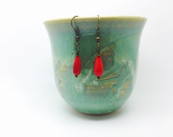 Simply red tear drop earrings,  bright red drops, red drop, red bright jewelry