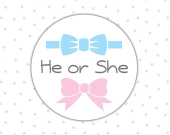 Gender reveal stickers - Gender reveal party - He or she stickers - Boy or Girl - Pink or blue - Gender announcement (RW015)