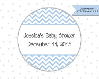 Baby shower stickers - Personalized baby shower stickers - Baby shower thank you stickers - Chevron baby shower (RW021)