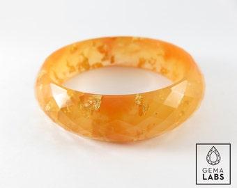 Faceted Orange Golden Leaf Bangle