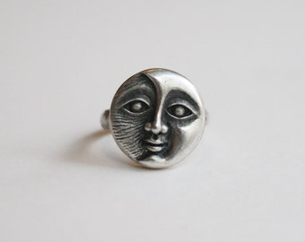 moon ring, moon sterling silver ring, moon statement ring, moon face ring, full moon ring