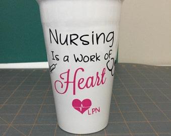 Nursing is a work of heart, Coffee Mug, Travel