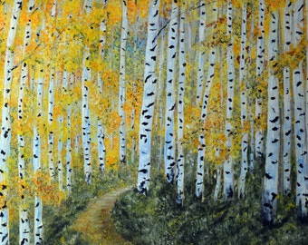 Autumn Aspen Tree Wall Art, Fine Art Prints, Forest Landscape painting, Colorado Aspen Trees, Impressionism Fall Landscape