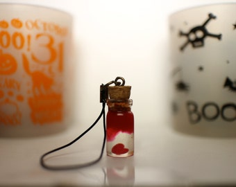 Bloody heart in a bottle cellphone charm (Halloween exclusive)