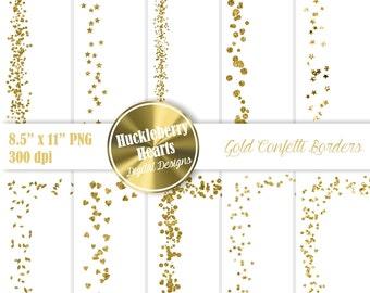 80% OFF SALE Gold Confetti Clipart, Confetti Borders, Confetti Clip Art, Digital Confetti, Printable, Commercial Use, 8.5x11 inches
