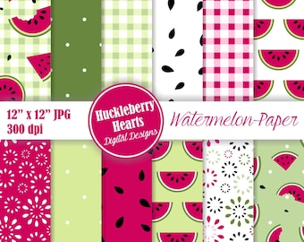 Watermelon Paper, Watermelon Digital Paper, Watermelon, Summer Paper, Printable, Commercial Use