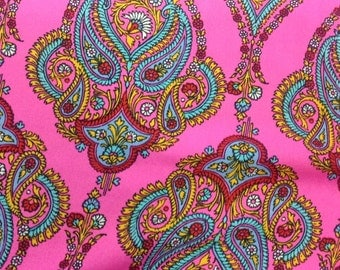 Bright Pink Boho fabric by the yard, Pretty Dress Fabric, Pink Retro 70's fabric, Shirts or tops Fabric, 58-60 wide Georgette Paisley Fabric