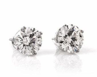 6.38 cts H-I Diamond Stud Platinum Earrings, #618202