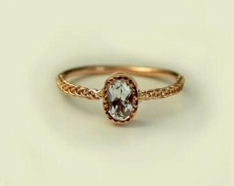 Aquamarine Engagement Ring, Unique Engagement Ring, Simple Engagement Ring, Fine Jewelry
