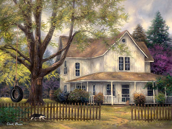 Americana painting old house art cottage artwork country for House painting images