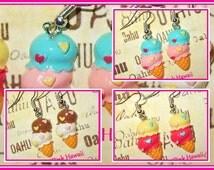 2 Scoop Ice Cream Waffle Cone Earrings Silver Plated Drop Dangle 3 Heart Styles Chocolate Strawberry Cherry Double Scoop Kawaii Fun