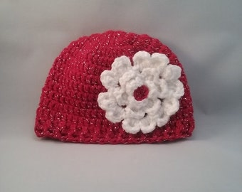 ready to ship 3-6 month hat, crochet hat for girl, red hat for baby, sparkling red hat,