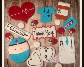 Doctor Medical Nurse Decorated Sugar Cookies