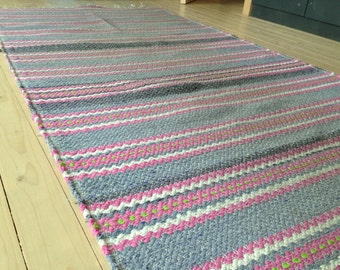 Swedish large Rag rug Large woven rag rug Striped Denim blue pink rug Woven Scandinavian rug
