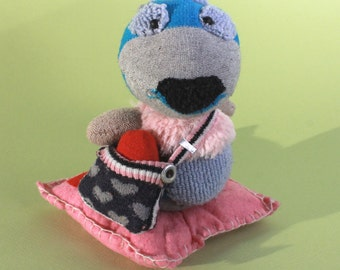 VALENTINE'S WOMBAT, Love Wombat with a heart in a bag, on a cushion!
