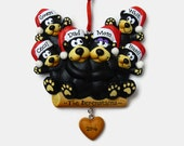 SHIPS FREE - 6 Bear Family Personalized Ornament - Family of Six Bears - Hand Personalized Christmas Ornament
