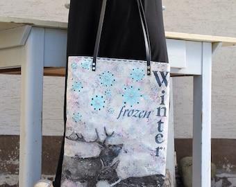 Einzigartige handgemalte Tasche in Acryl ...ein Traum....wunderschöne Winterscene....