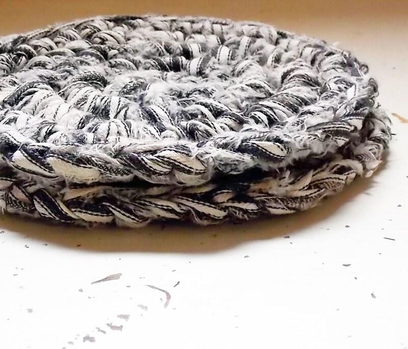Rag Rug Thick Hot Pads Black & White Ticking Housewarming