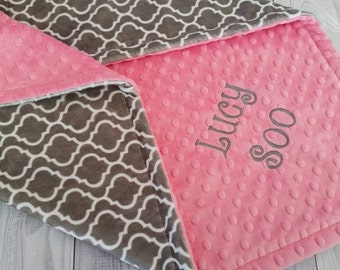 Personalized Baby Blanket, Personalized Minky Blanket, Minky Baby Blanket, Trellis Minky Blanket, Modern Baby Blanket