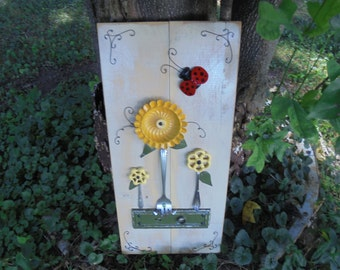 Found Object Assemblage Art of Nature, Salvage Art Flowers, Up-cycled Kitchen Materials, Faucet Handle Flowers, Ladybug Art, Folk Art