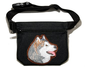 Embroidered dog treat waist bag. Breed - Alaskan Malamute. For dog shows and training. Great gift for breed lovers.