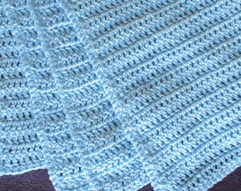 """Blue Crochet Blanket Baby Afghan Large 30"""" x 38"""", Small 26"""" x 33"""", Scallop Edge or Not, Blue Baby Blanket, Baby Shower Gift"""