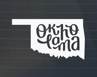 Oklahoma Car Decal - Oklahoma Decal - Oklahoma Sticker