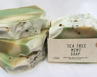 Tea Tree Mint Soap, Handmade Soap, Natural Soap, Fresh Summer Soap, Creamy Lather, Herbal, Plant Based, Aloe Vera Soap, Athens, GA Made