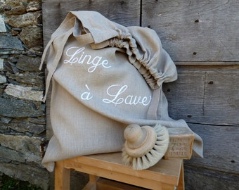 Linen laundry bag. Customizable.