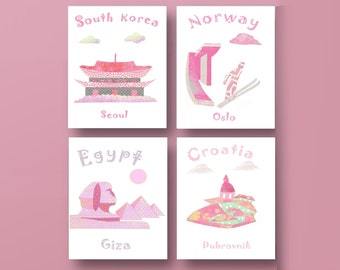 726,Oh, the places you'll go, Dr Seuss, kids art,South Korea,Norway,Egypt,Croatia, travel nursery, baby room decor, baby girl nursery