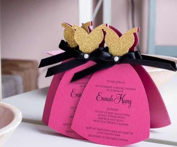 Bridal Shower Invitation, Bridal Invitation, Bachelorette Party Invitation, Bridal Party Invitation, Hot Pink, Gold, Black, Dress Shaped