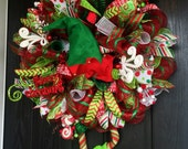 Elf wreath, Christmas deco mesh wreath, Christmas Elf wreath, holiday wreath, front door wreath, Elf deco mesh wreath, elf wreath with legs
