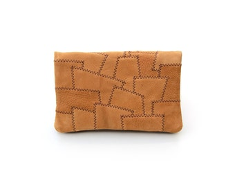 Tobacco pouch made of nubuck leather-Patchwork-