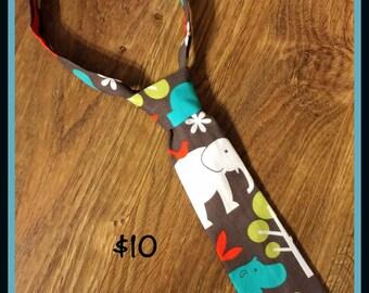 Little Boy Necktie / Handmade Little Boy Neck Tie / Jungle Animals