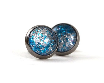 Sparkly Round Glitter Earrings, Silver and Blue
