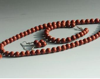 Red Jasper Necklace Bracelet Earrings SET