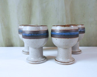 Set of 4 Otagiri Horizon Chalices / Wine Glasses / Goblets - Handmade Stoneware from Japan