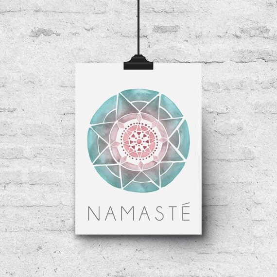 Namaste, Mandala Watercolor Illustration - Greeting Card