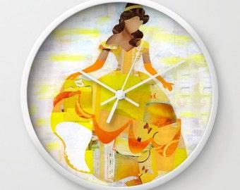 Beauty and the Beast wall clock, Belle decorative clock, Beauty and the beast home decor, princess baby decor, nursery decor