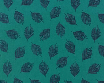 Teal Fabric by the Yard, Valley Fabric, Sherri & Chelsi, Moda Fabrics, Teal Cotton Quilt Fabric, Leaf Quilt Fabric, 37516 17