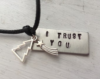 "Gravity Falls Inspired Stamped Charm Necklace ""I Trust You"""
