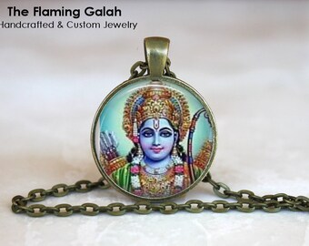 VISHNU Pendant •  Indian Hindu God •  Blue God •  Hinduism Religious Jewelry • Gift Under 20 • Made in Australia (P0701)