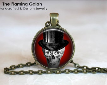 Human Top Hat Skull Pendant. Unusual Anatomy Jewelry. Gothic Style Necklace. Key Ring. Gift Under 20. Handcrafted Jewellery in Australia