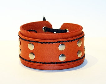 Orange Leather Cuff Bracelet! Unique Leather Gift! Hight quality item! Orange Bracelet! Leather Accessories!