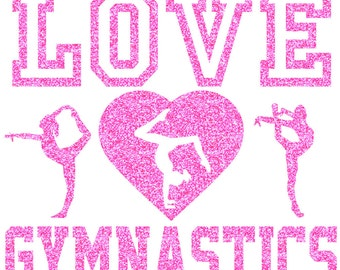 Love Gymnastics with Poses Iron On Decal