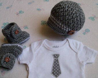 New Handmade Crochet Baby Boy Hat, Booties, Personalized Onesie (0-3 months, 3-6 months)