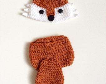 Crochet fox newborn hat and diaper cover set